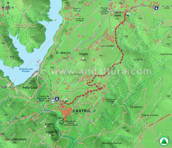 Mapa ruta BTT saliendo de Castril por la A-326