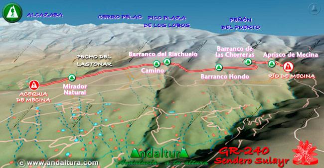 Mapa en relieve sobre el recorrido del tramo 15 del Gran Recorrido GR-240