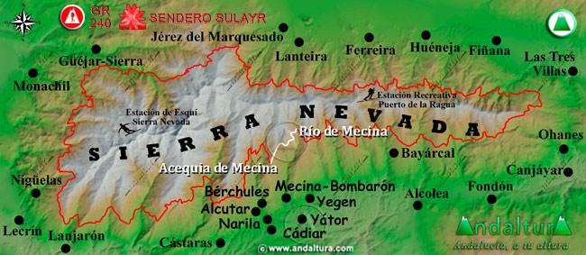 Mapa de Sierra Nevada donde se indica el tramo 15 entre la Acequia de Mecina y el Río de Mecina