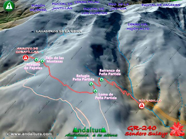 Segundo Mapa en relieve sobre el recorrido del tramo 37 del Gran Recorrido GR-240