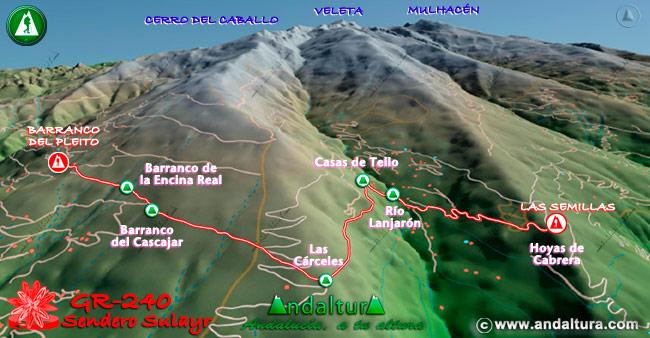Mapa en relieve sobre el recorrido del tramo 6 del Gran Recorrido GR-240