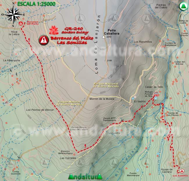 Mapa del tramo 6 del Sendero Sulayr, GR 240, entre el Barranco del Pleito y Las Semillas