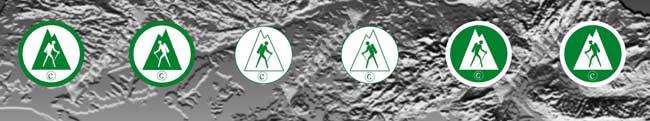 Iconos que aparecen en los mapas de Andaltura para indicar el inicio, continuación y final de los senderos