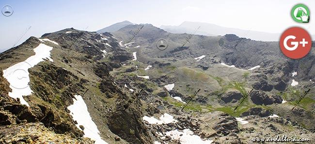 Valle de Lanjarón, Veleta, Alcazaba y Mulhacén, desde Tajos Altos