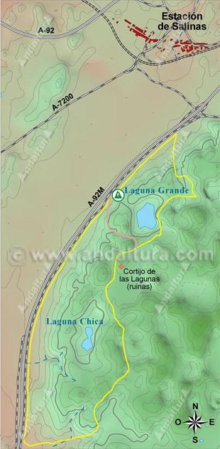 Mapa de los accesos a la Lagunas de Archidona
