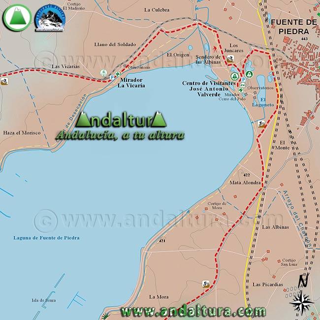 Mapa de Senderismo y BTT por Fuente de Piedra, zona norte y oeste de la Reserva Natural Fuente de Piedra