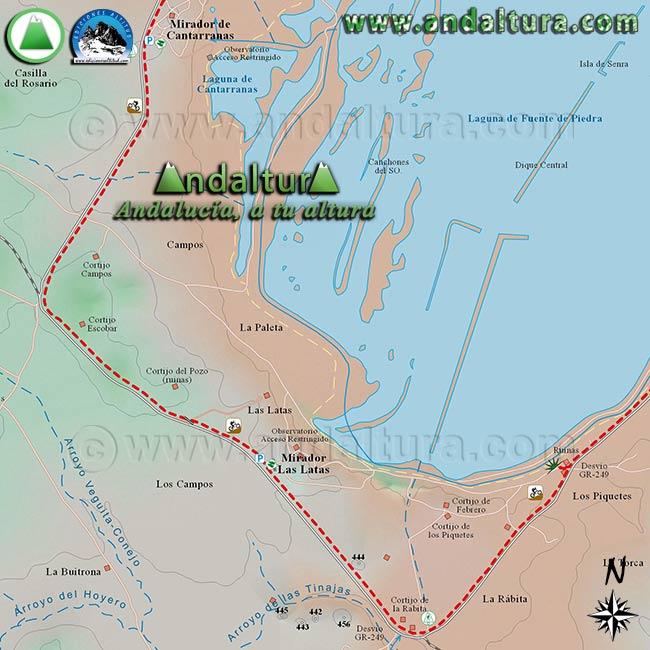 Mapa de Senderismo y BTT por Fuente de Piedra, zona sur y este de la Reserva Natural Fuente de Piedra