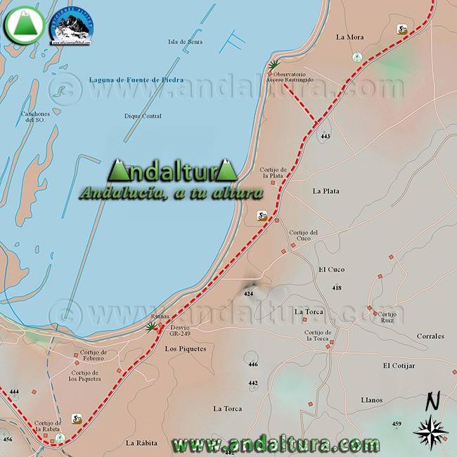 Mapa de Senderismo y BTT por Fuente de Piedra, zona este de la Reserva Natural Fuente de Piedra