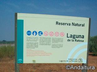 Cartel informativo de la Laguna de la Ratosa