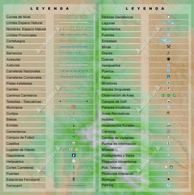 Leyenda de los mapas cartográficos y calibrados de Andaltura