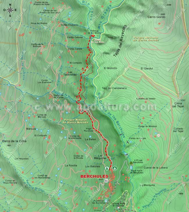 Mapa de la ruta de senderismo desde Bérchules a la Junta de los Ríos