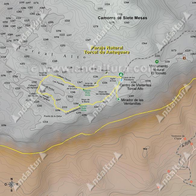Mapa de senderismo gratis de la ruta de la Senda Amarilla por el Torcal Alto