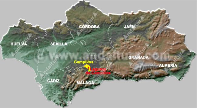 mapa de la situación de campillos y de la reserva en andalucia