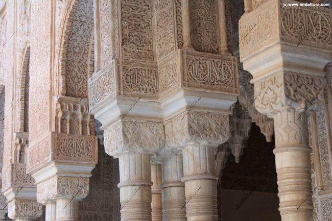 Columnas nazaríes en el Palacio de los Leones