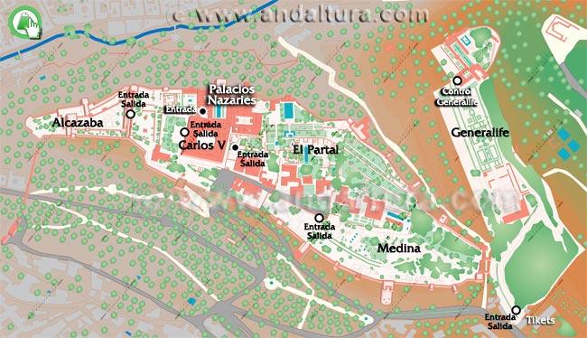 Mapa de Zonas de La Alhambra y el Generalife
