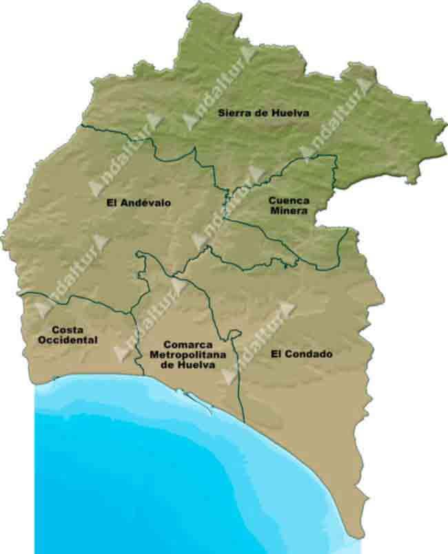 Pueblos De Huelva Mapa.Andaltura Comarcas De Huelva