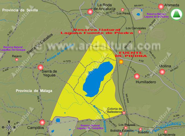 Mapa de situación de la Reserva Natural Laguna de Fuente de Piedra y del municipio
