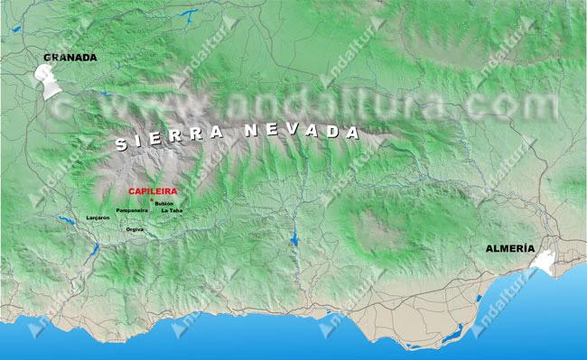 Mapa de situación de Capileira en relación a Sierra Nevada