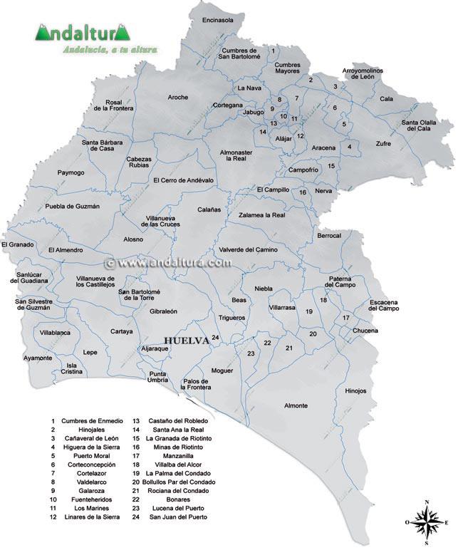Pueblos De Huelva Mapa.Andaltura Huelva