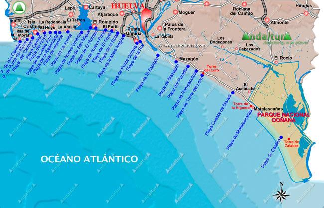 Mapa De Huelva Costa.Andaltura Litoral Onubense