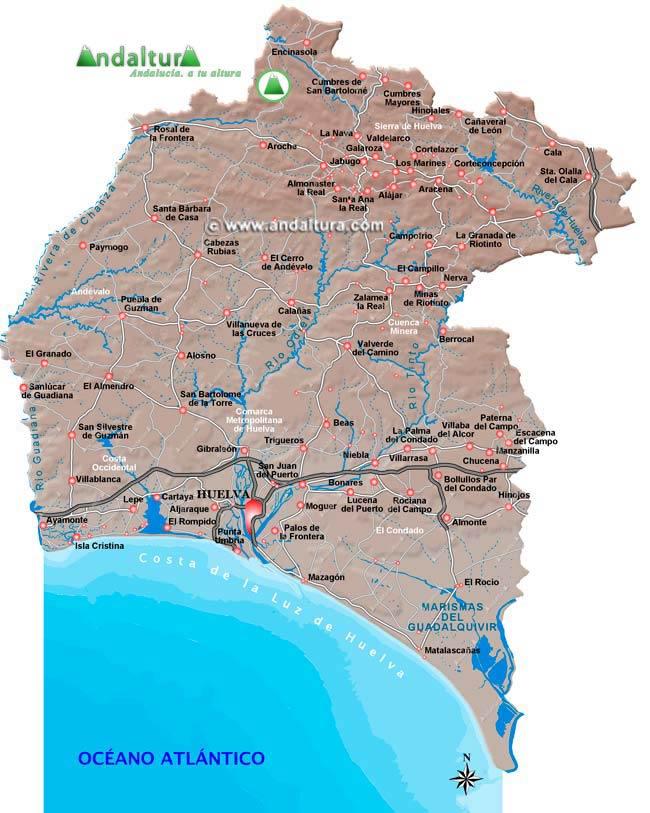 Mapa De Huelva Capital.Andaltura Huelva