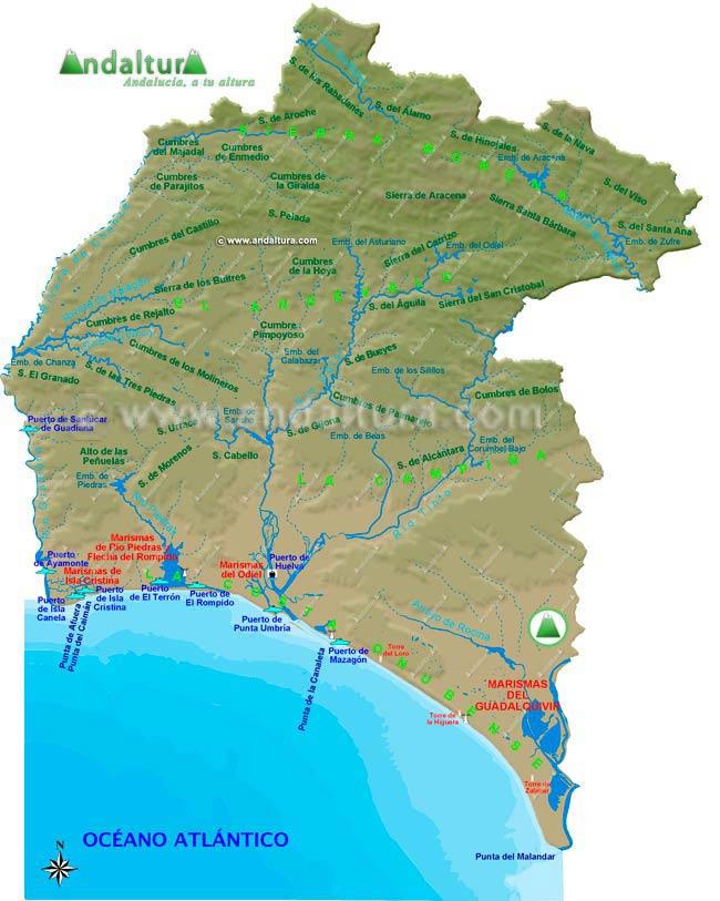 Marismas Del Guadalquivir Mapa.Andaltura Relieve