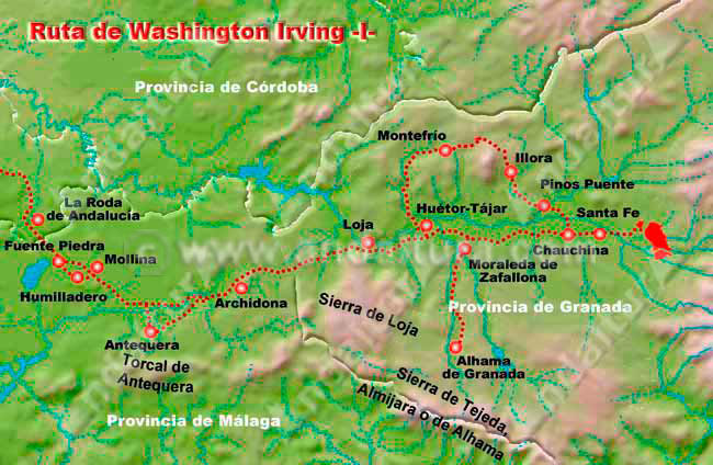 Mapa de la Ruta de Washington Inving, de Sevilla a Granada