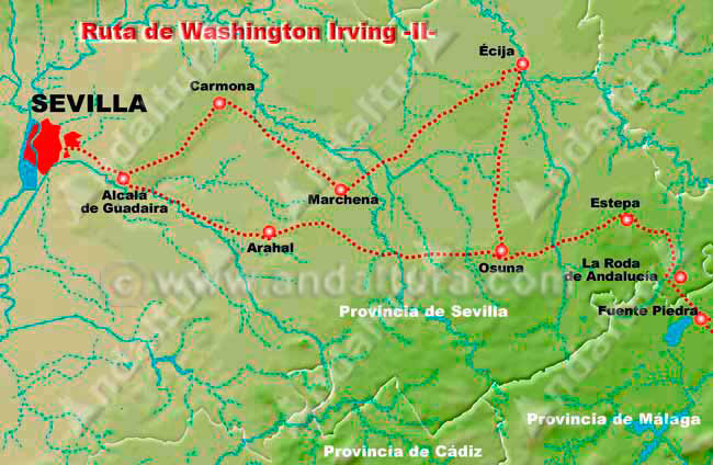 De Sevilla a Granada, Ruta de Washington Irving