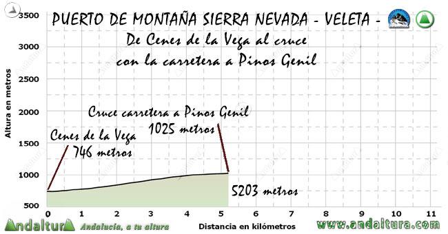 Perfil del Puerto de Montaña al Veleta, desde Cenes de la Vega por la A-395 al cruce con Pinos Genil