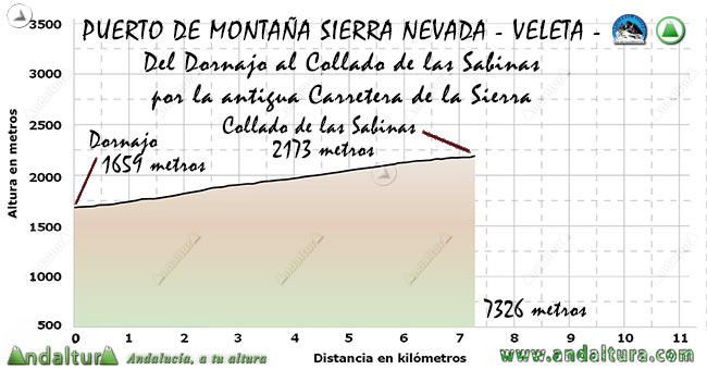 Perfil del Puerto de Montaña al Veleta, desde el Dornajo al Collado de las Sabinas