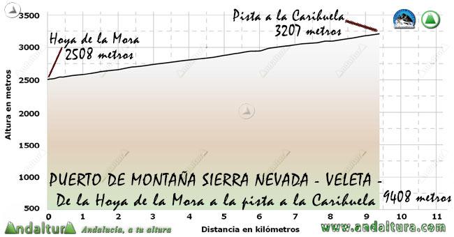 Perfil del Puerto de Montaña al Veleta, desde la Hoya de la Mora a la pista al Collado de la Carihuela