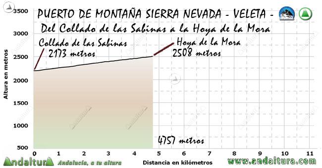 Perfil del Puerto de Montaña al Veleta, desde el Collado de las Sabinas a la Hoya de la Mora
