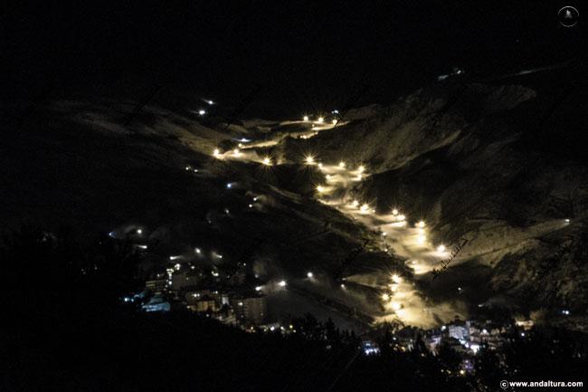 Esquí Nocturno en Sierra Nevada, Área Esquiable del Río Monachil