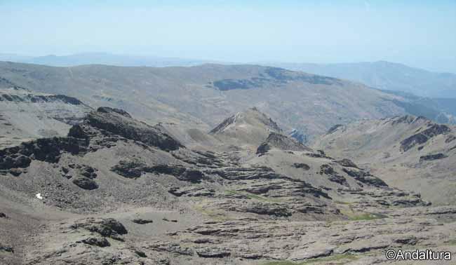 huellas glaciares en la alta montaña de sierra nevada, vertiente a la alpujarra