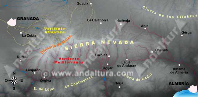 mapa de la divisoria de mares de sierra nevada