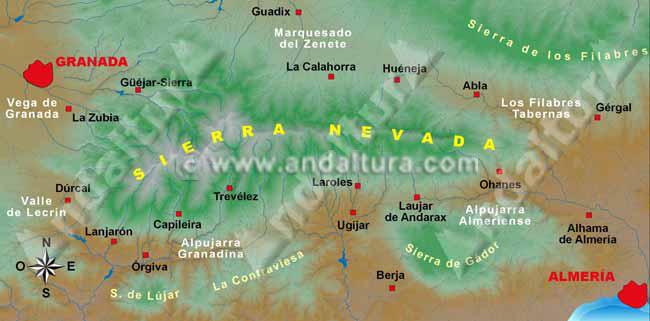 mapa general de sierra nevada