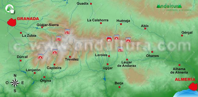 Mapa de los Refugios de Sierra Nevada