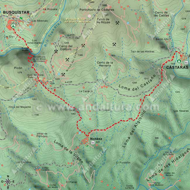 Mapa de la etapa entre Busquístar y Cástaras, del Sendero de Gran Recorrido GR-142