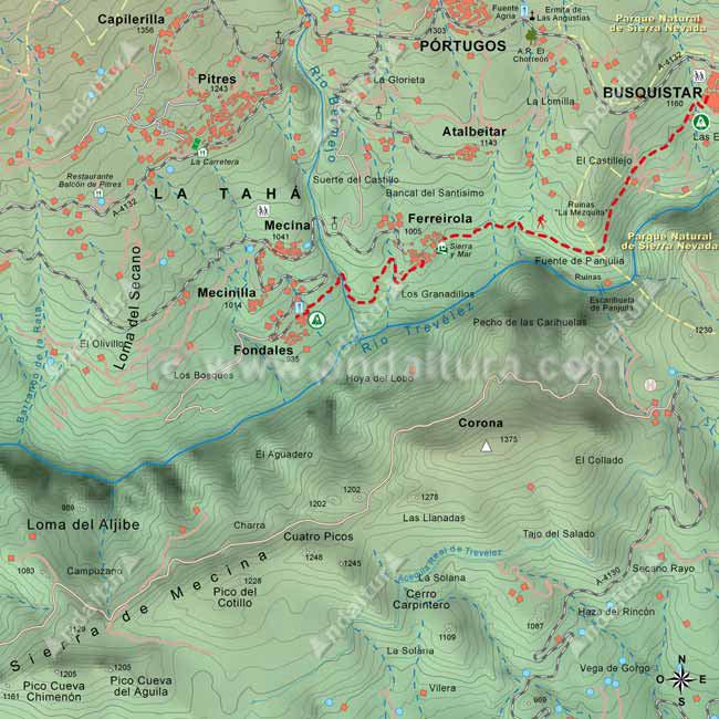 Mapa del tramo del GR142 entre Fondales y Busquístar