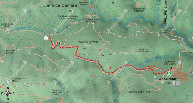 Mapa del gr142 desde el desvío de la Rambla del Repenil al municipio de Jorairátar (Ugíjar)