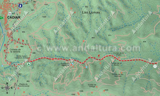 Mapa del gr142 desde la Venta de Cuatro Caminos (Cádiar) hasta el desvío de la Rambla del Repenil