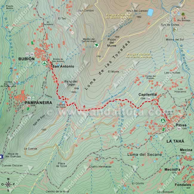 Mapa del Sendero de Gran Recorrido E-4 / GR-7 que une las localidades de Bubión y Pitres, pasando por Capilerilla
