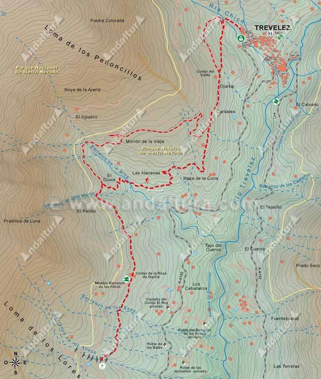 Mapa del Sendero de Gran Recorrido E-4 / GR-7 que une los municipios de Busquístar y Trevélez, desde el Barranco de los Alisos