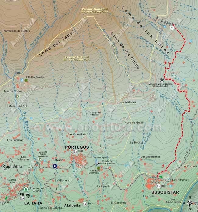 Mapa del Sendero de Gran Recorrido E-4 / GR-7 que une los municipios de Busquístar y Trevélez, hasta el Barranco de los Alisos