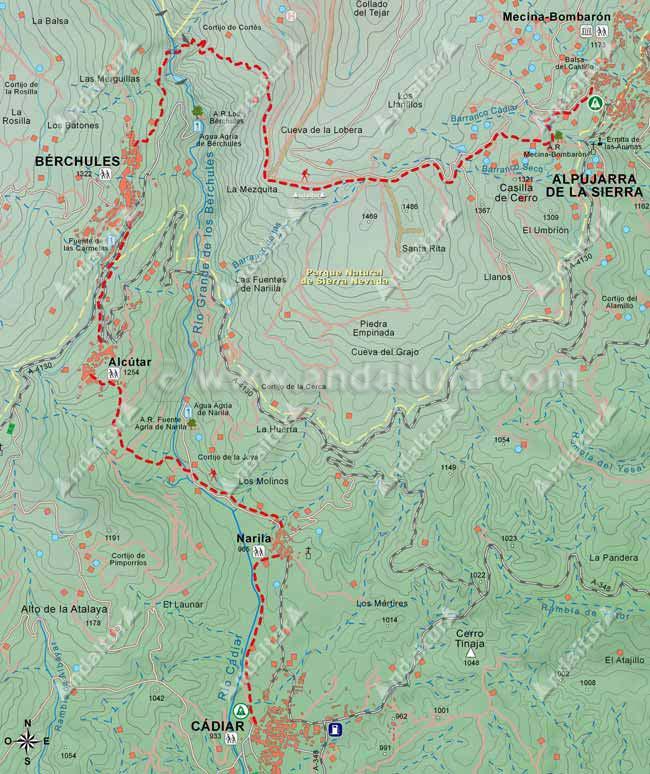 Mapa del Sendero GR-7 desde Cádiar hasta Mecina-Bombarón pasando por las localidades de Narila, Alcútar y Bérchules