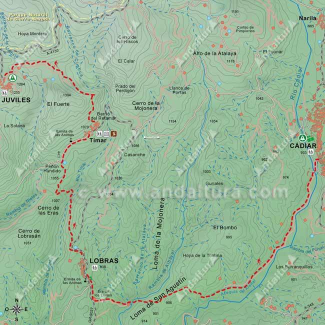 Mapa del Sendero E-4 / GR-7 desde Juviles hasta Cádiar, pasando por Tímar y Lobras