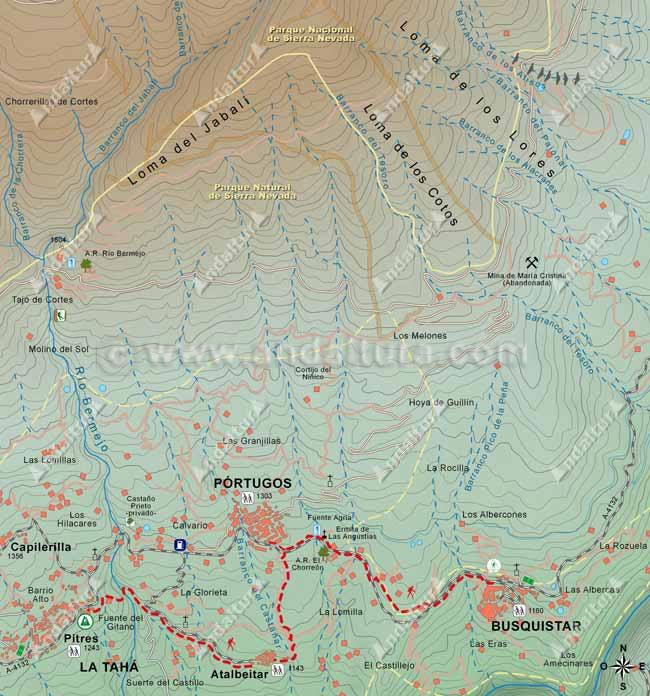 Mapa del Sendero de Gran Recorrido GR-7 entre Pitres y Busquístar