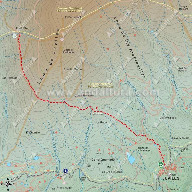Mapa del Sendero GR-7 desde Trevélez a Juviles, desde Prado Seco
