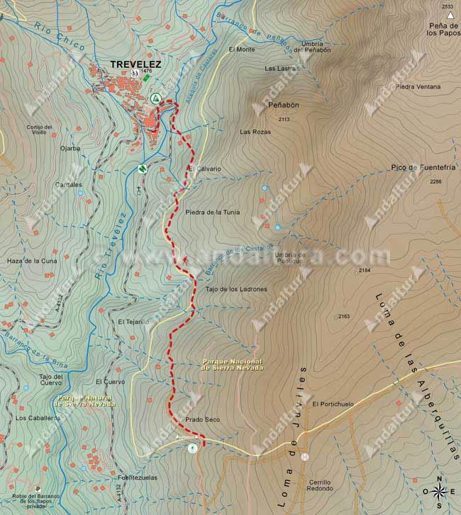 Mapa del Sendero GR-7 desde Trevélez a Juviles, hasta Prado Seco