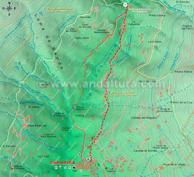 Mapa de senderismo por la Alta Montaña, desde Capileira hasta la Central Eléctrica del